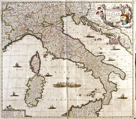 old map of Italy, with Corsica and Sardinia