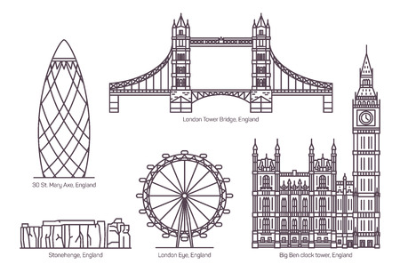 Illustration pour Set of isolated Great Britain, UK or England famous buildings. London Tower Bridge or Eye, English The Gherkin or 30 St. Mary Axe, Stonehenge and Big Ben Clock Tower. Sighseeing and architecture - image libre de droit