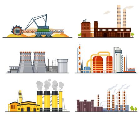 Illustration for Factories or industrial plants, heavy industry set - Royalty Free Image