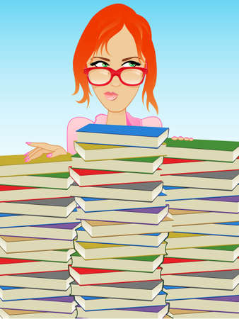 Girl Wearing Glasses Behind a Stack of Books