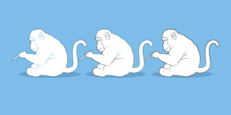 Illustration of monkeys drawing each other