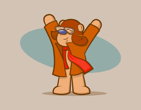 Cute vintage bear wearing goggles and a scarf, pretending to fly