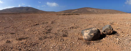 Panorama of rock and volcanic desert  Near Los Molinos, Fuerteventura, Canary Islands