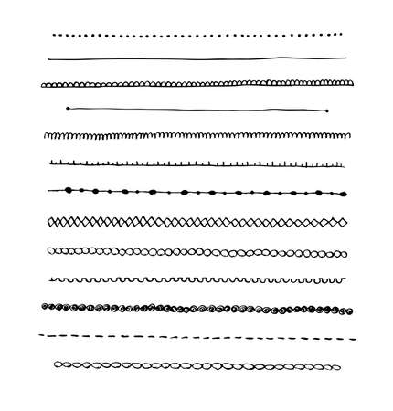 Ink hand-drawn vector line border set and scribble design element