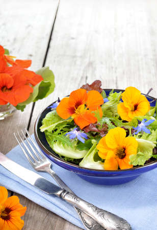 Fresh summer salad with edible flowers nasturtium, borage flowers in a bowl. Copyspace.