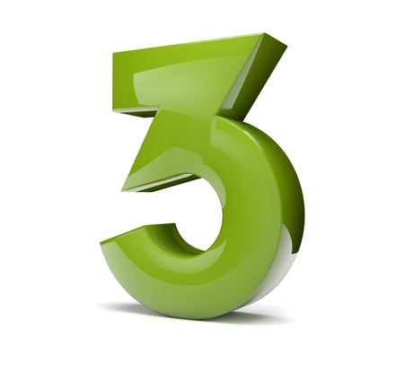 3d rener of a green number three