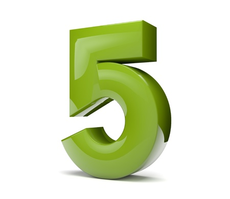 Photo for 3d render of a green number five - Royalty Free Image