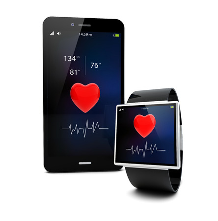 Photo pour Health app connectivity concept: smart watch and touchscreen smartphone  isolated on white background - image libre de droit
