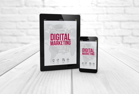 digital generated tablet and smartphone with digital marketing on screen