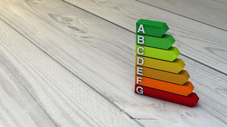 Energy efficiency concept: energy efficiency diagram over wooden floor