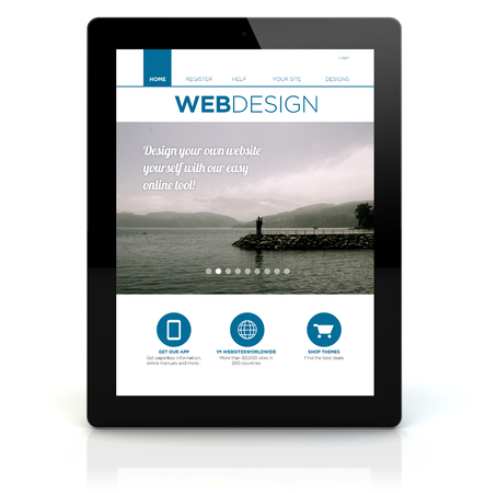 webdesign concept: render of a tablet pc with webdesign on the screen. Screen graphics are made up.