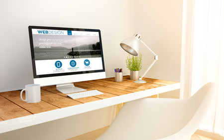 minimalist freelance web designer studio with design website on screen computer and copyspace. 3d illustration. all screen graphics are made up.