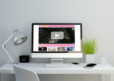 modern clean workspace mockup with videostreaming website on screen. 3D illustration. all screen graphics are made up.