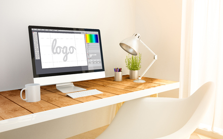 3d generated minimalist workspace with graphic design software computer screen computer and copyspace. 3d illustration. all screen graphics are made up.