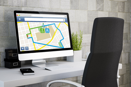 3d rendering of industrial workspace showing gps on computer screen. All screen graphics are made up.