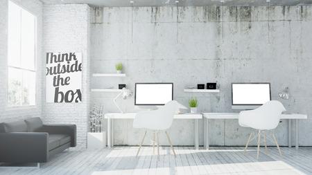 Photo pour 3d rendering of coworking office - image libre de droit