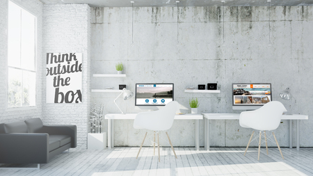 Foto de 3d rendering of web design coworking office - Imagen libre de derechos
