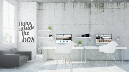 3d rendering of web design coworking office