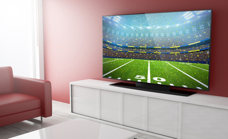 Photo pour live streaming football on smart tv on a living room. 3d Rendering. - image libre de droit