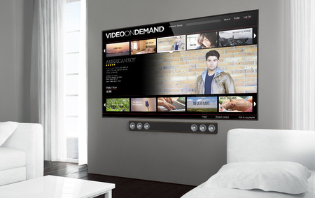 Big screen tv at living room with video on demand screen. 3d rendering.