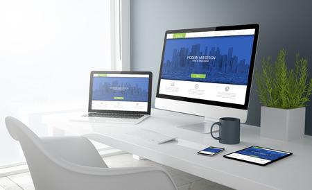 Foto de 3d rendering of desktop with all devices showing modern design website. All screen graphics are made up. - Imagen libre de derechos