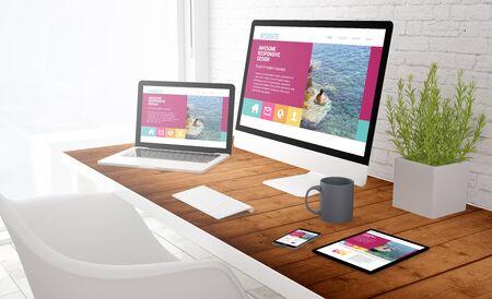Photo pour responsive design concept: view of tablet, computer, laptop and touchscreen smartphone on a desktop. 3d rendering. - image libre de droit