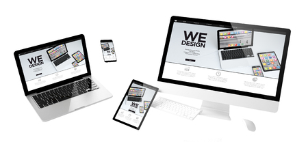 Photo pour flying devices with we design website responsive design 3d rendering - image libre de droit