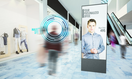 Photo pour Digital advertisiment in shopping mall mockup 3d rendering - image libre de droit