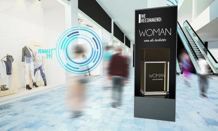 Foto de Digital advertisiment in shopping mall mockup 3d rendering - Imagen libre de derechos