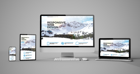 Photo for Responsive devices responsive web design mountain isolated mockup 3d rendering - Royalty Free Image