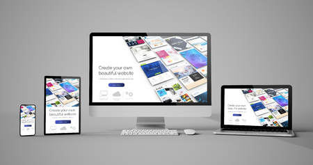 Photo for Responsive devices website builder isolated mockup 3d rendering - Royalty Free Image
