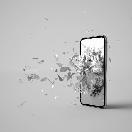Photo for 3d rendering of a breaking phone - Royalty Free Image