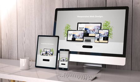 Photo pour Digital generated devices on desktop, responsive cool website design on screen. All screen graphics are made up. 3d rendering. - image libre de droit