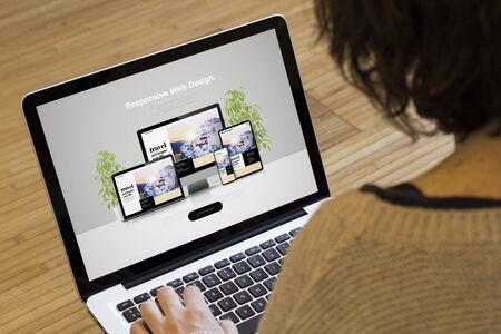 Photo pour Web design concept: responsive web design on a laptop screen. - image libre de droit