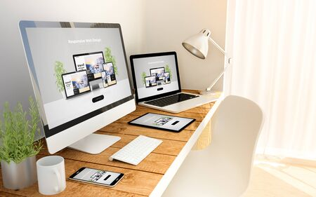 Photo for Digital generated devices over a wooden table with  website responsive concept. - Royalty Free Image