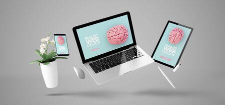 Photo pour floating devices showing smart responsive website design 3d rendering - image libre de droit