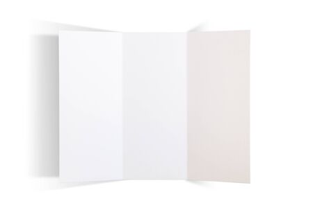 Photo for Trifold brochure isolated on white mockup - Royalty Free Image