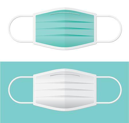 Illustration pour two colors surgical mask in flat vector - image libre de droit