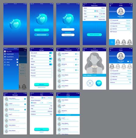 Illustration pour love app ui design mobile - image libre de droit