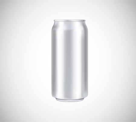 Illustration pour Metal can front view. Can vector visual 500 ml. For beer, lager, alcohol, soft drinks, soda advertising. - image libre de droit