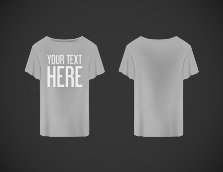 Illustration pour Men gray T-shirt. Realistic mockup whit brand text for advertising. Short sleeve T-shirt template on background. - image libre de droit