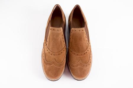 Foto de Female Brown Shoe on White Background, Isolated Product. - Imagen libre de derechos