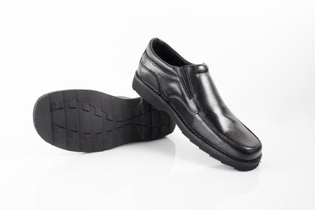 Foto de Male Black Shoe on White Background, Isolated Product. - Imagen libre de derechos