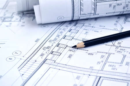 Photo pour Photo of several drawings for the project engineer jobs - image libre de droit