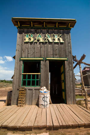 Old western style bank in old ghost town