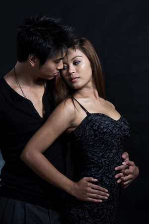 Young attractive asian multiracial man woman couple