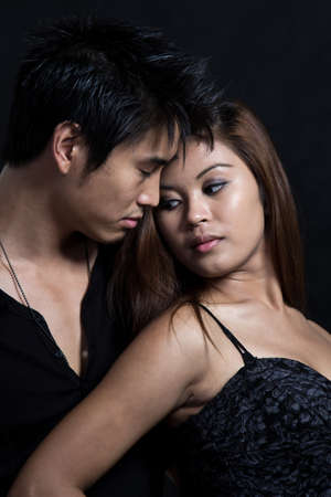 Young attractive asian man woman couple