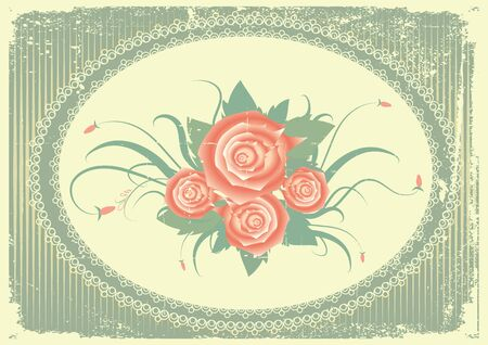 floral background with decor frame