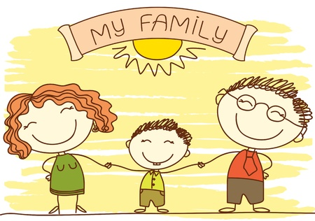 FAmily on white.Vector color happy parents and text.