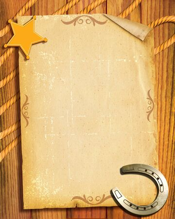 Cowboy style.Old paper background with sheriff star and horseshoes